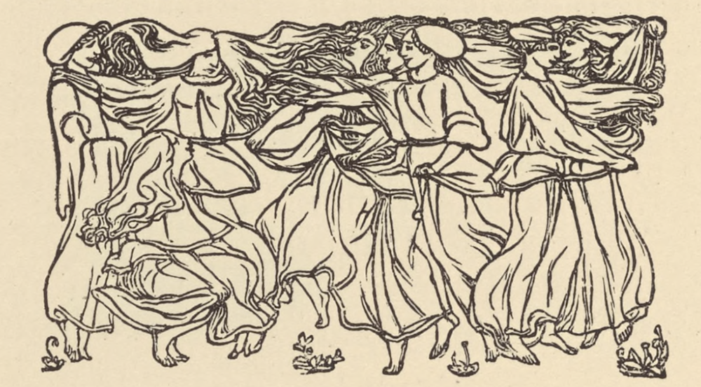 The anthropomorphic open tailpiece is in landscape orientation, positioned beneath the text,                          and extending three-quarters of the letterpress's width. The ornament depicts eight women who                          appear to be dancing or gathering. Each woman is barefoot and is dressed in a white gown. There are                          three women in the left region of the ornament. The woman furthest to the left is standing upright                          in right profile. She is wearing a white bonnet. Her hands are beneath her gown, lifting it upwards.                          There is another woman standing to her right who is facing forwards. Her hair is extremely long and                          uplifted, and it extends throughout the upper portion of the ornament to the extreme right. Another                          woman is kneeling on the ground in front of them. She is in right profile and is looking upwards                          towards the woman with the long hair. She holds the bottom of her dress up off the ground with her                          right hand. In the central and right regions of the ornament, there are six women. The woman in the                          centre, furthest from the foreground, is in profile facing left. She is holding her dress with her left                          hand and reaches leftward with her right arm. She has long curly hair which is also uplifted and extends                          leftward to meet the hair of the woman with the extremely long hair on the left. Another woman is standing                          in front of her and slightly to the right. She is also holding her dress with her left hand and reaches                          leftward with her right arm. In front of her, a woman is in the same position, but standing further to                          the right. She is wearing a white bonnet. In the extreme right, there are two women facing each other.                 